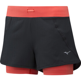 Mizuno Mujin 4.5 2in1 Shorts Women black/hot coral